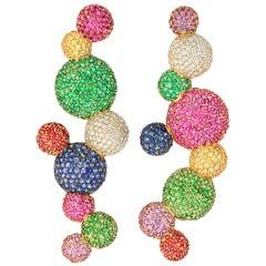 "Rosior Diamond, Sapphire, Emerald and Tsavorite one of a kind ""Sphere"" Earrings"