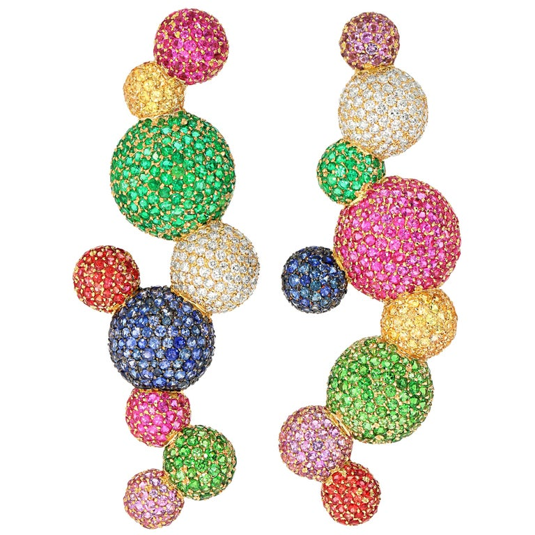 """Rosior Diamond, Sapphire, Emerald and Tsavorite one of a kind """"Sphere"""" Earrings For Sale"""