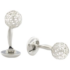 Sphere Geometric Cufflinks in Rhodium-plated Sterling Silver by Fils Unique
