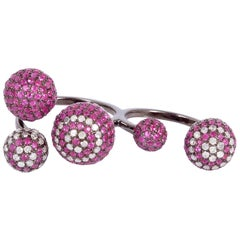 Sphere Ruby Diamond 18 Karat Gold Ring