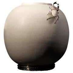 Sphere with Beetle Piece by Estudio Guerrero, Glazed Ceramic and White Metal