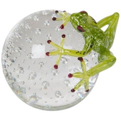 Sphere with Frog Color Green Apple, in Glass, Italy