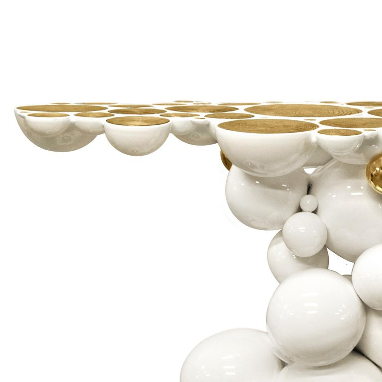 Portuguese Spheres Console Table with Aluminium White and Gold Spheres For Sale
