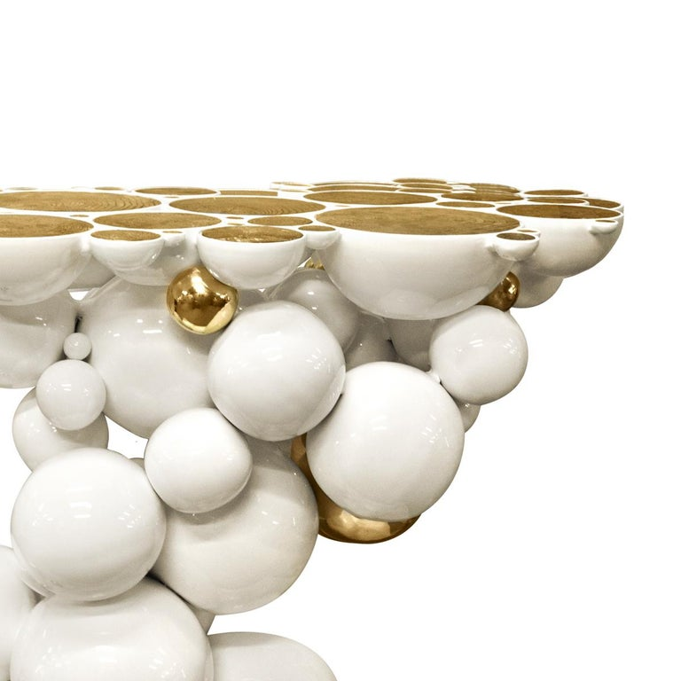 Metalwork Spheres Console Table with Aluminium White and Gold Spheres For Sale