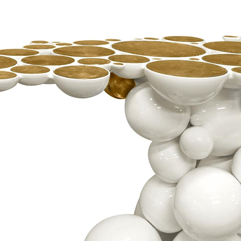 Spheres Console Table with Aluminium White and Gold Spheres In New Condition For Sale In Paris, FR