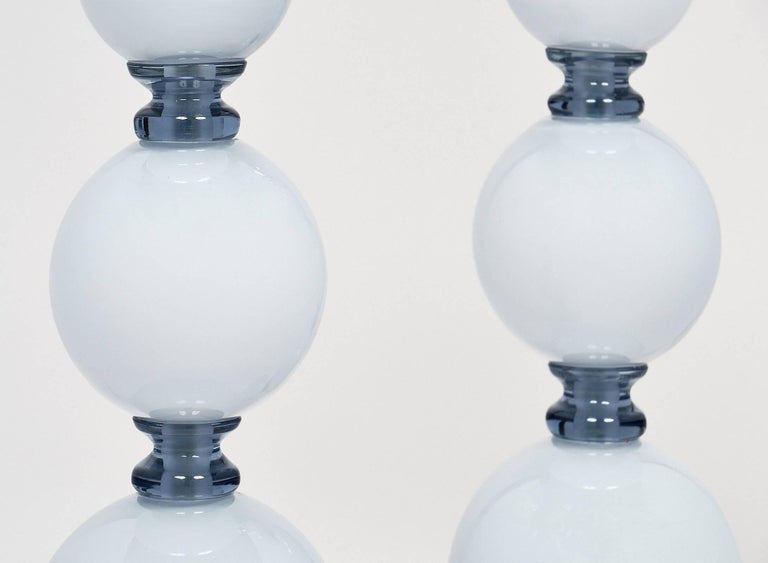 Contemporary Spherical Blue Murano Glass Table Lamps For Sale