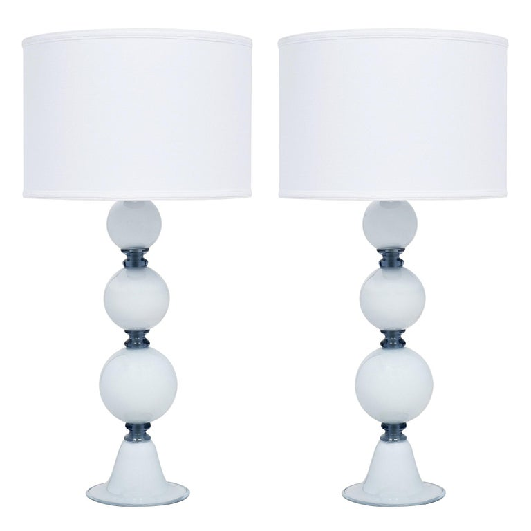 Spherical Blue Murano Glass Table Lamps For Sale