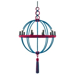 Spherical Chandelier Wrapped in Passementerie, Silk Cords with Tassel