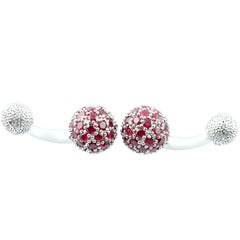 Spherical Cufflinks in White Gold and Rubies