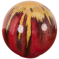Spherical Gold and Red Drip Glaze Art Pottery