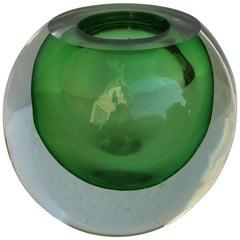 Spherical Green Sommerso Murano Glass Vase, 1970s