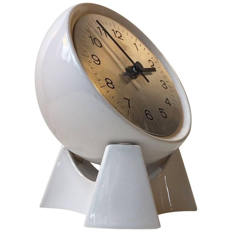 Spherical Midcentury Danish Rotating Pottery Table Clock from Søholm, 1970s For Sale