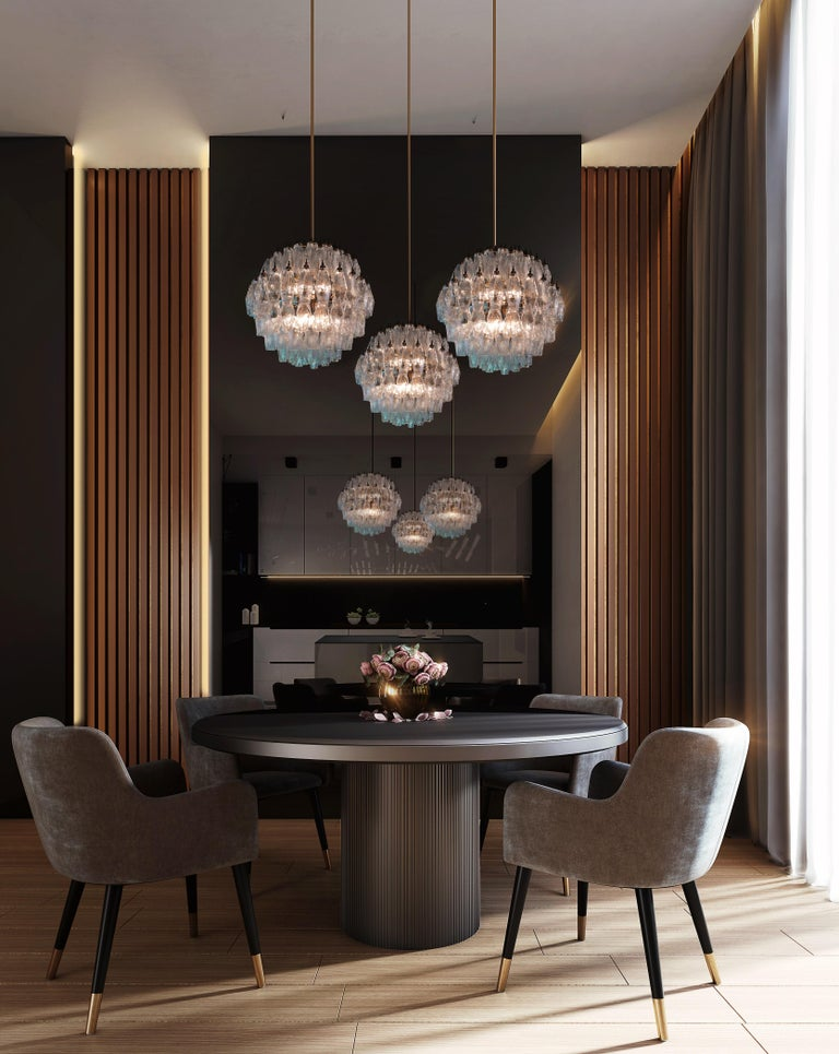 Spherical Murano Poliedri Chandelier Carlo Scarpa Style, Murano In Excellent Condition For Sale In Budapest, HU