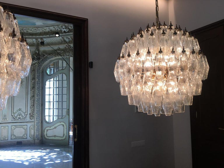 Murano Glass Spherical Murano Poliedri Chandelier Carlo Scarpa Style, Murano For Sale