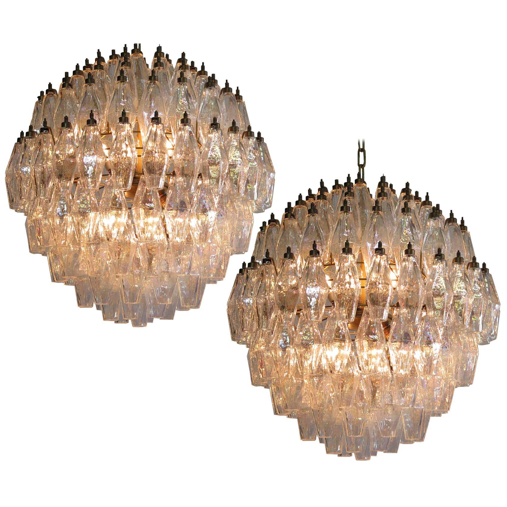 Spherical Murano Poliedri Chandelier Carlo Scarpa Style, Murano