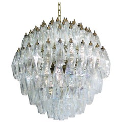 Spherical Poliedri Candelier, 140 Iridescent Glass, Carlo Scarpa Style, Murano