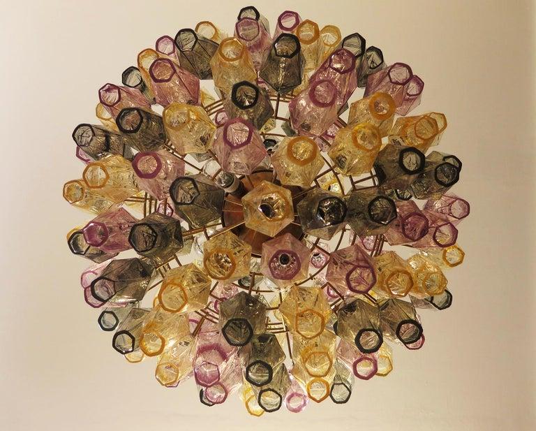 Spherical Poliedri Candelier, 140 Multicolored Glass, Carlo Scarpa Style, Murano In Excellent Condition In Budapest, HU