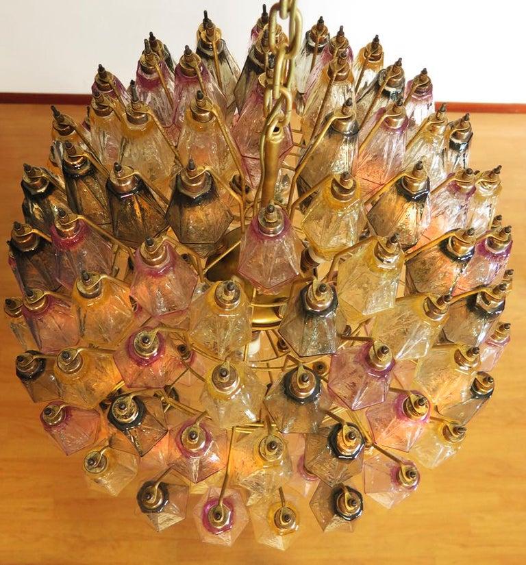 Metal Spherical Poliedri Candelier, 140 Multicolored Glass, Carlo Scarpa Style, Murano