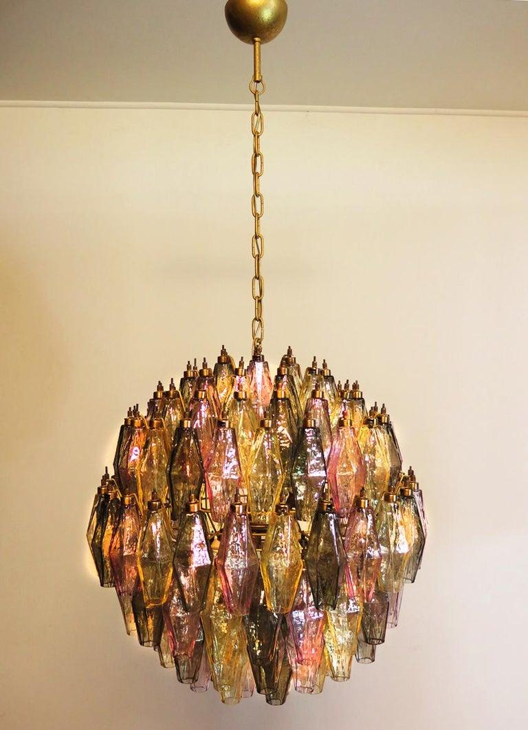 Spherical Poliedri Candelier, 140 Multicolored Glass, Carlo Scarpa Style, Murano 1