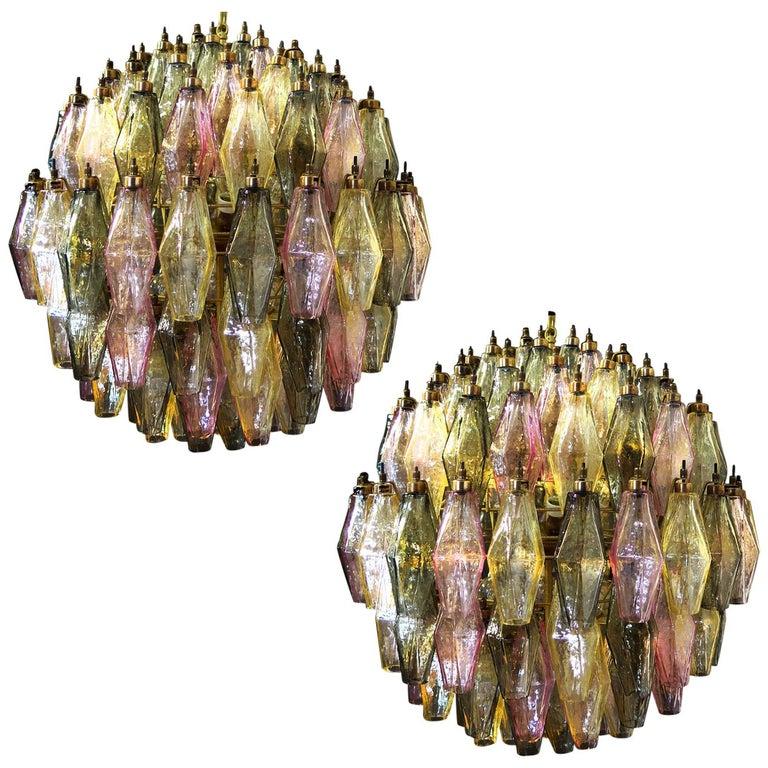 Spherical Poliedri Candelier, 140 Multicolored Glass, Carlo Scarpa Style, Murano