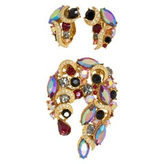Sphinx Golden Siam Red Aurora Borealis Crystal Pin Brooch and Clip on Earrings