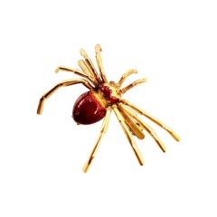 Spider 18k Gold Red Guilloche Enamel Brooch with Cabochon Ruby Eyes, circa 1950