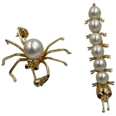 Spider and Caterpillar Insect Brooch Pair of Pearl Ruby 14 Karat Gold Retro Pins