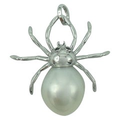 Spider Black Diamond Australian Pearl Gold Pendant or Necklace