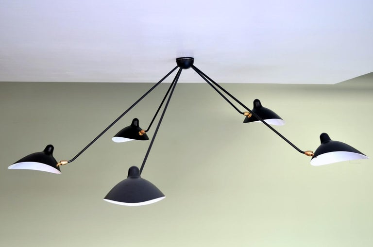 Mid-Century Modern Spider Ceiling Lamp with Five Arms by Serge Mouille For Sale