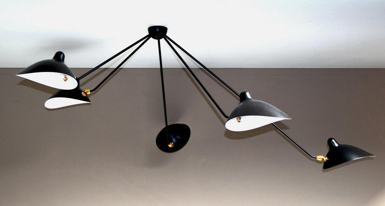 French Spider Ceiling Lamp with Five Arms by Serge Mouille For Sale
