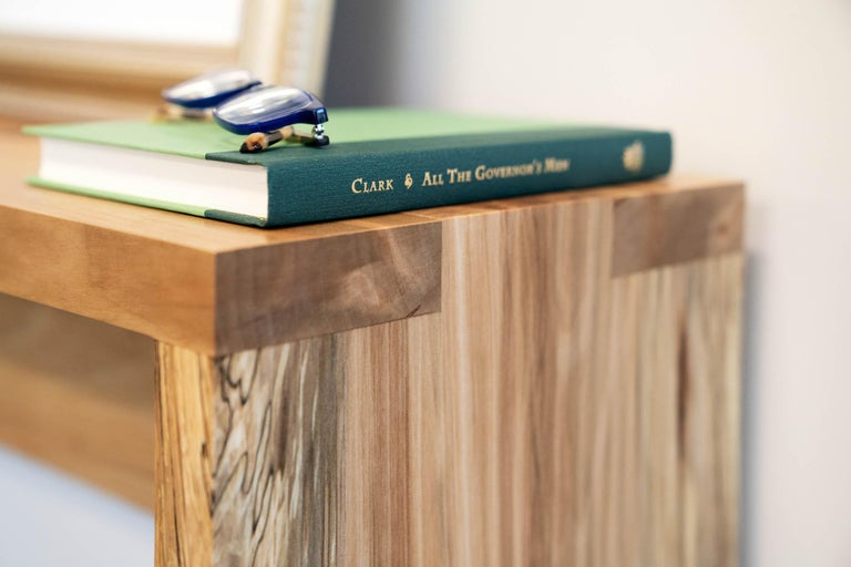 Rustic yet refined with seamless box joints, our Spider console table with apron in sweet gum is hand crafted by Alabama Sawyer from Alabama urban sweet gum trees. Often referred to as
