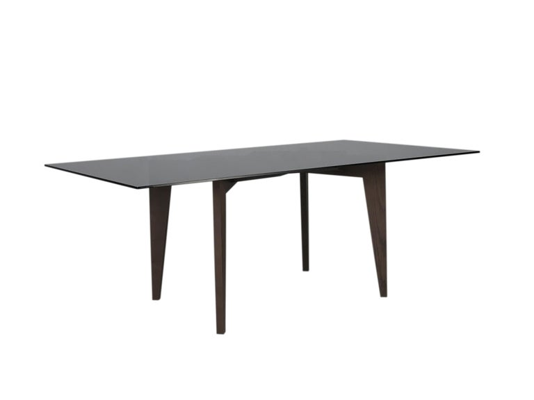 Italian Spider Contemporary Table Made of Ashwood with Interlocking Legs and Glass Top For Sale