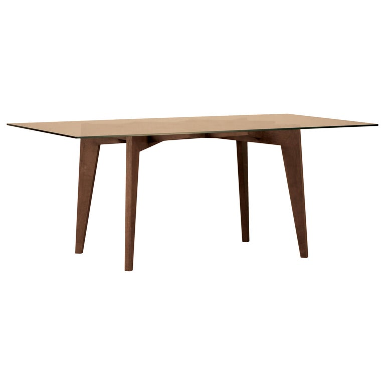 Spider Contemporary Table Made of Ashwood with Interlocking Legs and Glass Top For Sale