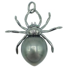 Spider Emerald South Sea Pearl Gold 18 Karat Pendant or Necklace