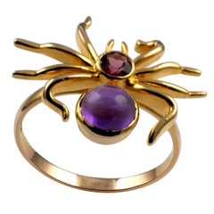 Spider Insect Ring 18 Karat Yellow Gold Pink Tourmaline and Amethyst