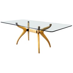 Spider-Leg Glass Top Dining Table