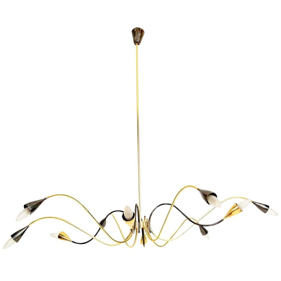 Spider Sputnik Stilnovo Style Ten-Arm Brass Chandelier, Italy, 1950s