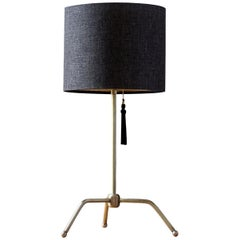 Spider Table Lamp, Brushed Brass Structure and Fiberglass and Fabric Shade by IM