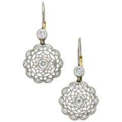 Spider Web Diamond Filigree Drop Earrings Dangle Edwardian Style Platinum