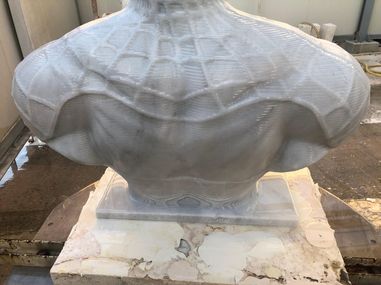 Spiderman Bust Sculpture in Carrara Marble For Sale 5