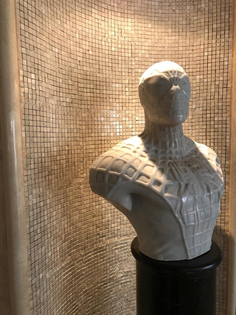 Modern Spiderman Bust Sculpture in Carrara Marble For Sale