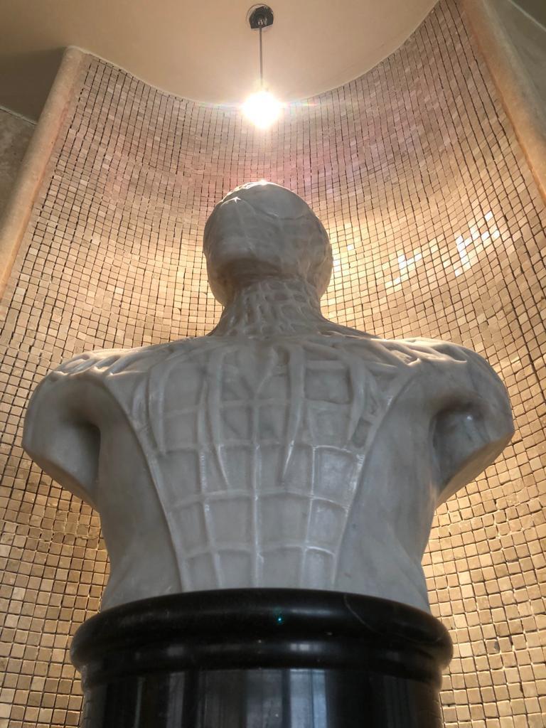 Italian Spiderman Bust Sculpture in Carrara Marble For Sale