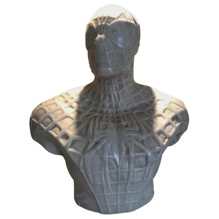 Spiderman Bust Sculpture in Carrara Marble For Sale