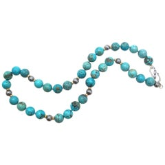 Spiderweb Turquoise Beaded Necklace with 14k Gold and Sterling Silver Accents