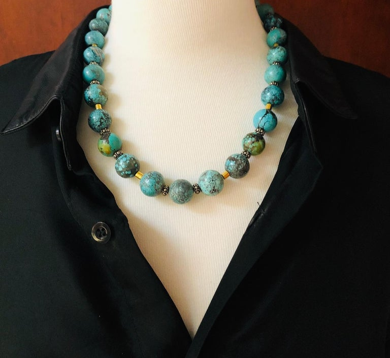 Spiderweb Turquoise Beaded Necklace with 18k Gold and Sterling Silver Accents For Sale 4