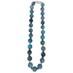 Spiderweb Turquoise Beaded Necklace with 18k Gold and Sterling Silver Accents