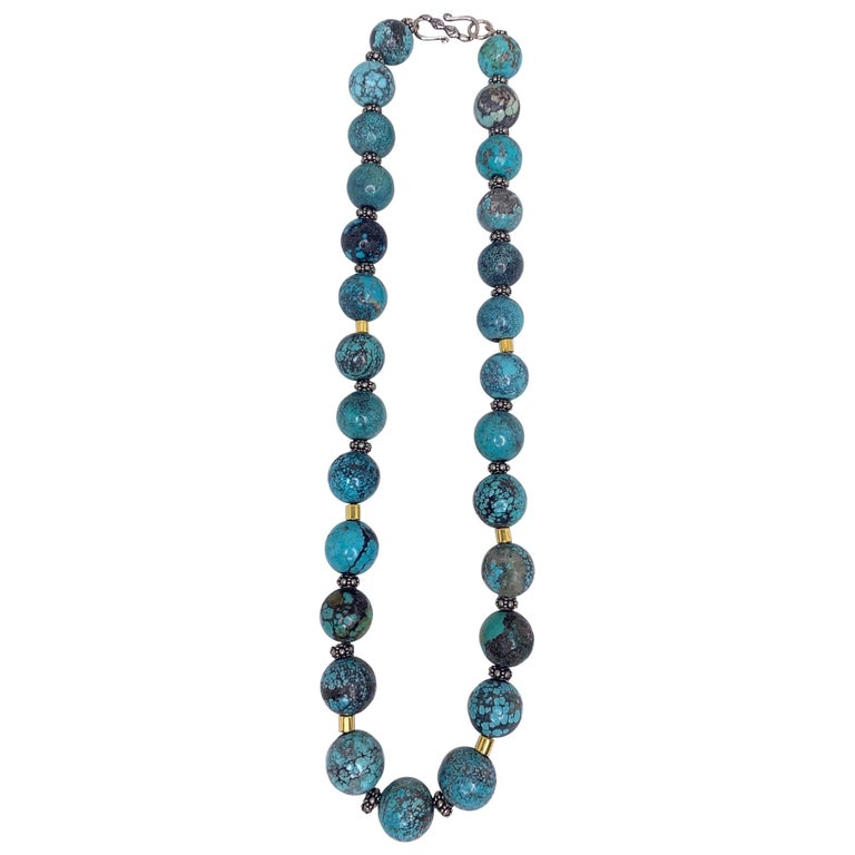 Spiderweb Turquoise Beaded Necklace with 18k Gold and Sterling Silver Accents For Sale