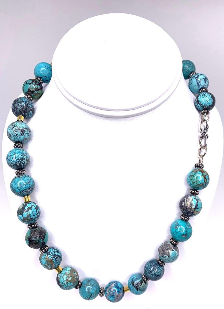 Women's Spiderweb Turquoise Beaded Necklace with 18k Gold and Sterling Silver Accents For Sale