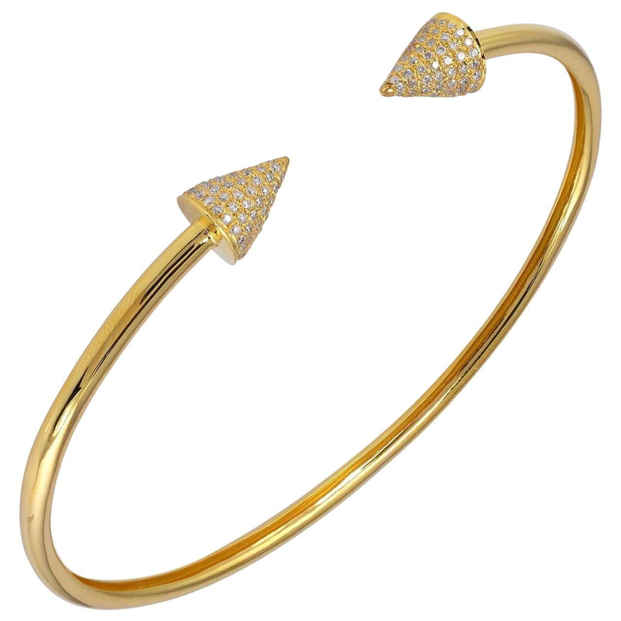Spike 18 Karat Yellow Gold Diamond Cuff Bracelet