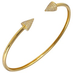 Spike 18 Karat Yellow Gold Diamond Cuff Bracelet